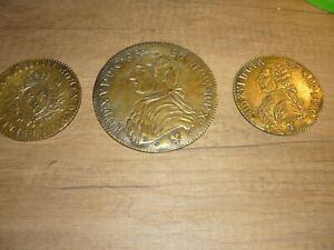 Ancien 3 dessous de verre/ en bronze reproduction monnaie