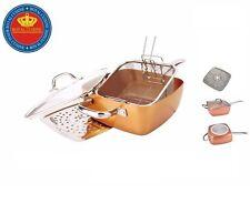 Cuivre antique Marmite Antiadhésif Poêle induction Base 5PC Set Poêle Cuiseur vapeur Pan