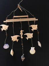 natural wood Hanging Nautical angel fish Shell Beach Mobile Sea Bathroom Decor