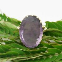 14k Yellow Gold Vintage Large Solitaire Amethyst Ring Size 7.25