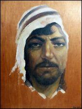 Portrait d'Homme Au Keffieh école orientaliste signée Harden 1937 Huile sur Bois