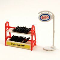 Model Garage Tyre Rack and Standing Esso Sign