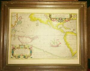 """Vintage Old World LITHO Map""""Maris Pacifici""""The Pacific Ocean(11""""x14"""")Ab.Ortelius"""