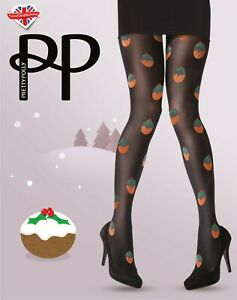 Pretty Polly Christmas Pudding Tights ~ One Size ~ Black