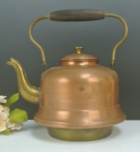 Vtge Copper and Brass Tea/Coffee Pot w/Wood Handle Made in Holland for Display