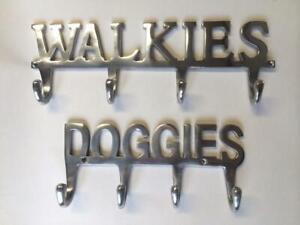 WALKIES DOGGIES DOG PET LEAD LEASH HOLDER WALL RACK HANGER HOOKS ALUMINIUM GIFT
