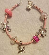 Pink European Crystal Bling  Murano Beads Horse Pony Charm Bracelet Jewelry NEW
