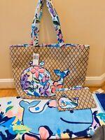 Vera Bradley Seashore Beach Bag Towel & Wristlet Marian Floral Whale NWT 3 Piece