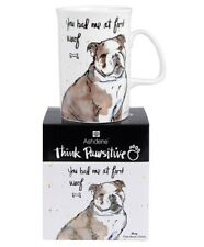 NEW Ashdene Think Pawsitive Bulldog Mug 320ml
