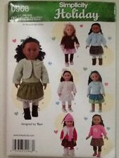 """Simplicity Holiday Pattern 0966 OS Uncut 18"""" Doll Clothes"""