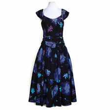LAURA ASHLEY Vtg 1980's Dark Blue Purple Floral Full Skirt Plunge Back Dress S