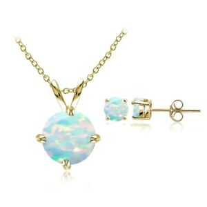 Simulated Opal Round Solitaire Necklace & Earrings Set in Gold Plated 925 Silver