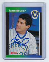 1989 BREWERS Juan Nieves signed card Donruss #575 Autographed Milwaukee