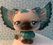 Ooak Lps Littlest Pet Shop Hasbro Cat Kitty Hand Painted Glitter Wings Custom