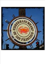PÊCHEURS QUAI de SAN FRANCISCO En Métal Plaque Murale Signe Avec Aged Edge
