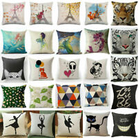 Fashion Animals Pattern Cushion Cover Cotton Linen Throw Pillow Case Home Decor