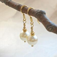 Perlenohrringe 925 Silber vergoldet Muschelkern Hänger Vintage Perle weiß g991