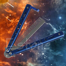 Blue Steel Practice BALISONG METAL BUTTERFLY Trainer Knife Comb With Sheath