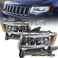 [LED Bar] 2014 2015 2016 Jeep Grand Cherokee LED Projector Chrome Headlights Set