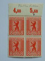 Viererblock (**) BBRA 1945 8 Pf Berliner Bär m. Plattenfehler Mi 3A VII u. 3A XI