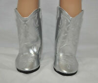 "Fits Our Generation American Girl 18"" Dolls Clothes Shoes Silver Cowboy Boots"