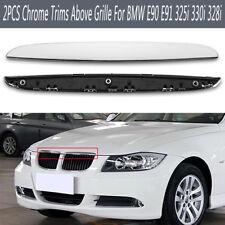 2pcs Front Hood Chrome Trim Above Kidney Grille For BMW E90 E91 325i 330i 328i