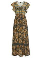 Buffalo Blue Brown Tribal Geometric Print Maxi Dress w Ruffles & Tassels Size 14