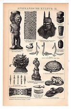 1897 AFRICAN CULTURE, African Artifacts,Ancient Africa,Antique Engraving Print