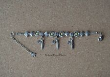 Tibetan Silver Topaz Bracelet - Weed Feather Charms