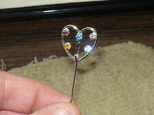 Pin Sterling Silver W Rhinestones Vintage Anson Heart Shaped Stick