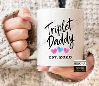 Fathers Day Gift Dad Gift Triplet Daddy Est 2020 Mug New Daddy Gift Mens Gift