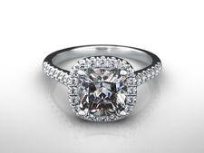 HALO DIAMOND ENGAGEMENT RING 3 CARAT F VS1 CUSHION 14 K WHITE GOLD APPRAISED
