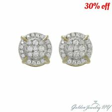 10K Yellow Gold Genuine Diamond Pave Round Screw Back Stud Earrings