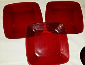 """Vintage Anchor Hocking Charm Royal Ruby Red 3-Square 8.5"""" Luncheon Plates"""