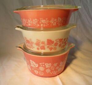 Vintage Pyrex Cinderella Pink Gooseberry Casserole Dish Set 471 472 473 w/Lids