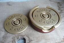 12 Guage SHOTGUN Shell Coaster Set of 4 - Hunting ManCave Gun Cabin Ammo LOOK