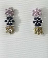 14k White Gold Natural Blue Pink Yellow Sapphire Stud Earrings