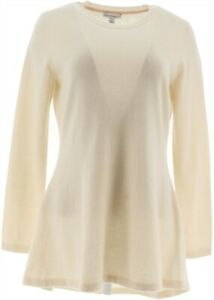 Isaac Mizrahi 2-Ply Cashmere Peplum Tunic Sweater Long Slv Cream XS # A281354