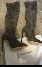 Casadei Thigh-High Sexy Style Boots Gray Suede  Stocking Blade Heel Beautiful
