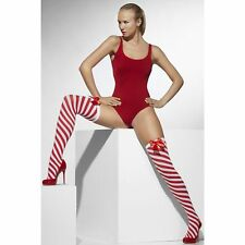 Red White Stripe Opaque Hold Ups Stockings Bow Ladies Womens Fancy Dress Hosiery