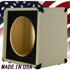 1x12 Guitar Speaker Extension Cabinet Empty Ivory White with blk Texture front