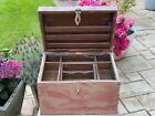 Vintage Indian Traders Wooden Box Chest Cash Till Removable Tray Storage Pink