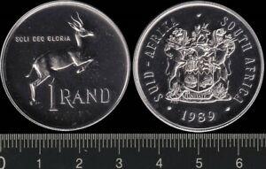 South Africa: 1989 1 Rand Suid-Afrika Springbok nickel es UNC set