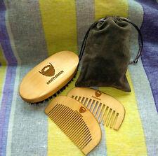 GENTLEMEN Beard Care Set Handmade Comb&100% Boar Bristle Brush For Men Sale