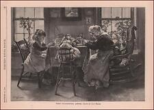 THANKSGIVING DINNER with GIRL & DOLL by Alice Barber, antique engraving 1888