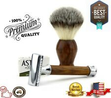 Pure Wood Handle Double Edge Blade Safety Razor and shaving Brush Kit for Men