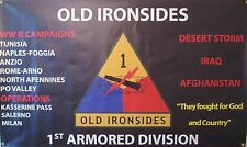 1ST ARMORED DIVISION WW II  3'X5' 2PL POLYESTER 1-SIDED INDOOR 4 GROMMET FLAG