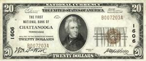 Tennessee Chattanooga $20 First National Bank National Currency 1929 - Low SN XF
