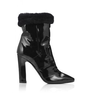 Tamara Mellon Black Patent/Shearling Crush Boots 105MM Heels US 8/EUR 38 $1,895