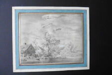 FRENCH SCHOOL 18thC - ANIMATED LANDSCAPE ATTR. DE BOISSIEU - FINE INK DRAWING